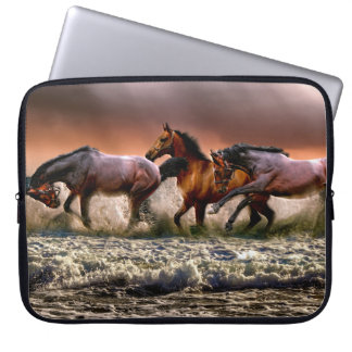 Three Horses Trotting in the Ocean Laptop Sleeve