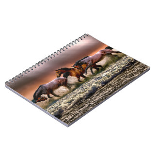 Three Horses Trotting in the Ocean Spiral Notebook