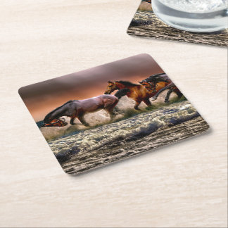Three Horses Trotting in the Ocean Square Paper Coaster