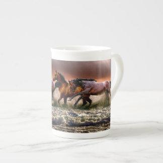 Three Horses Trotting in the Ocean Tea Cup
