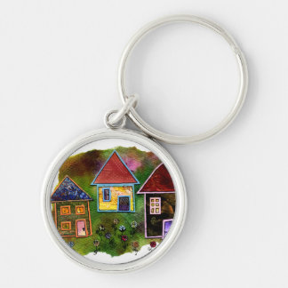 Three House Collage with Flowers Key Ring