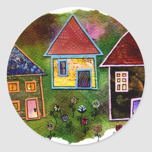 Three House Collage with Flowers Round Sticker