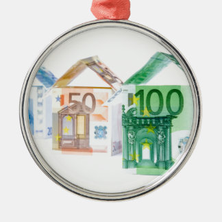 Three houses made of bank notes metal ornament