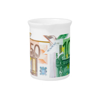 Three houses made of bank notes pitchers