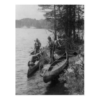 Three Hunters with Canoes at Shore Postcard