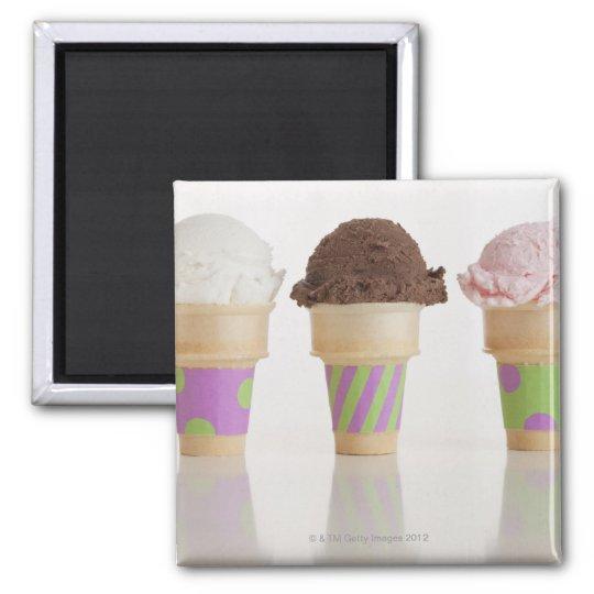Three ice cream cones magnet
