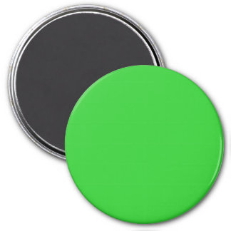 Three Inch Round Fridge Magnet: Lime Green.