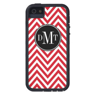 Three Initials Monogram Red Chevron Pattern Case For The iPhone 5