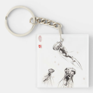 Three Jellyfish Keychain