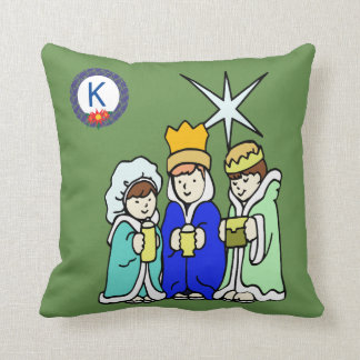 Three Kids as Wise Men and a Monogram Cushion