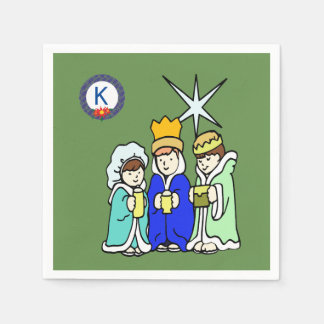 Three Kids as Wise Men and a Monogram Disposable Serviette
