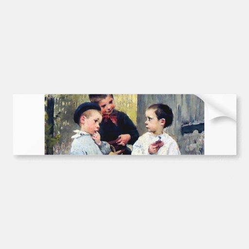 Three kids painting bumper sticker