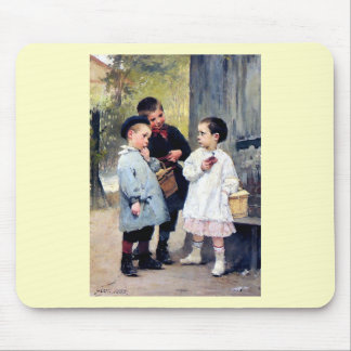 Three kids painting mouse pad