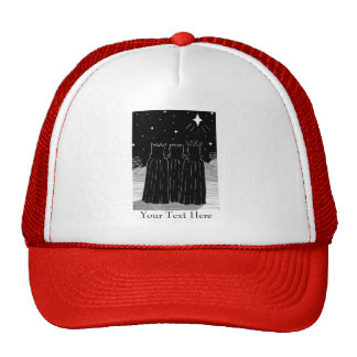 Three kings and Christmas star black and white art Mesh Hat