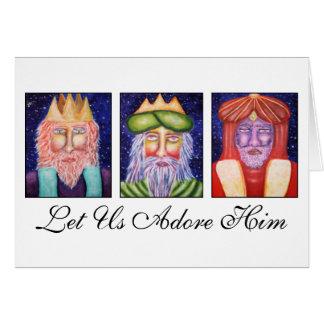 "Three Kings Art ""Let Use Adore Him"" Christmas Card"