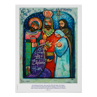 Three Kings Christmas Poster, Matthew 2:11 verse Poster