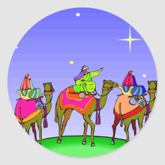 Three Kings Follow Christmas Star Round Sticker
