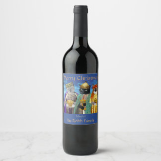 Three Kings Kittens Personalized Wine Label