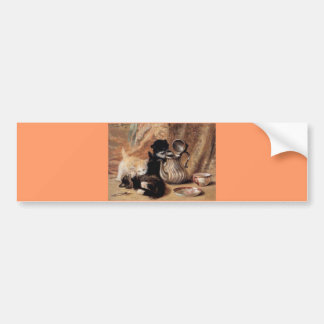 Three Kittens Playing Tea Time Antique painting Bumper Sticker