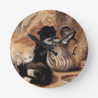 Three Kittens Playing Tea Time Antique painting Clocks