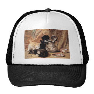 Three Kittens Playing Tea Time Antique painting Trucker Hat