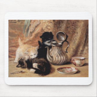 Three Kittens Playing Tea Time Antique painting Mouse Pad
