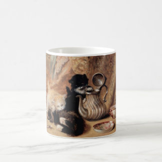 Three Kittens Playing Tea Time Antique painting Coffee Mug