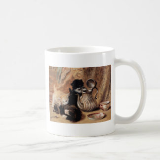 Three Kittens Playing Tea Time Antique painting Coffee Mugs