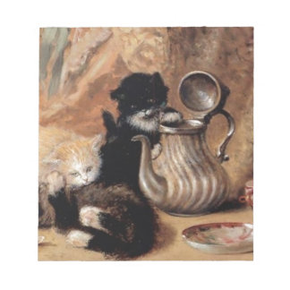 Three Kittens Playing Tea Time Antique painting Memo Pads