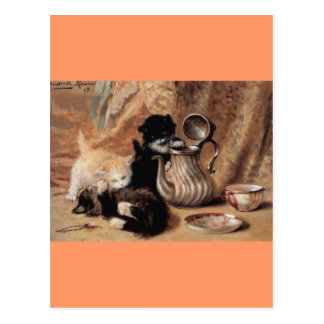 Three Kittens Playing Tea Time Antique painting Postcard