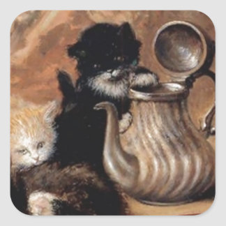 Three Kittens Playing Tea Time Antique painting Square Sticker