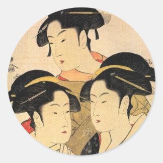 Three Known Beauties Japanese Art Sticker