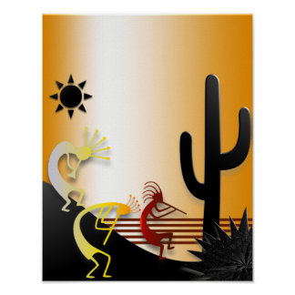 Three Kokopellis and a Cactus Poster