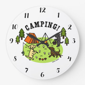 Three Labradors Camping Wall Clock