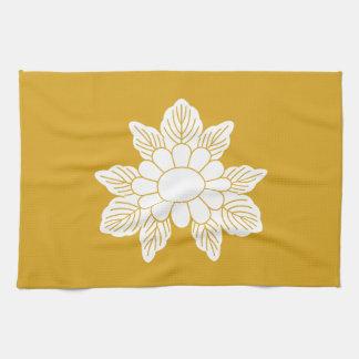 Three leaf asters tea towel