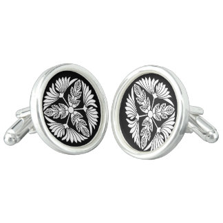 Three leaf chrysanthemums cufflinks