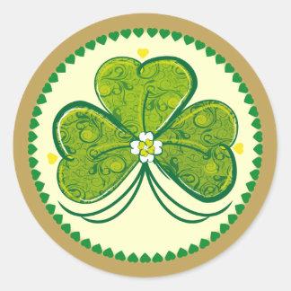 Three Leaf Clover - frame round sticker