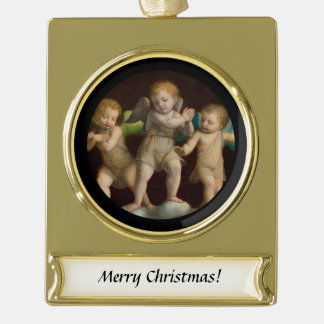 Three Little Cherubs or Angels Gold Plated Banner Ornament
