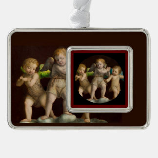 Three Little Cherubs or Angels Silver Plated Framed Ornament