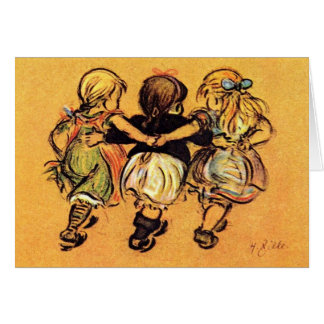 Three Little Girls - best Friends - Greeting Card