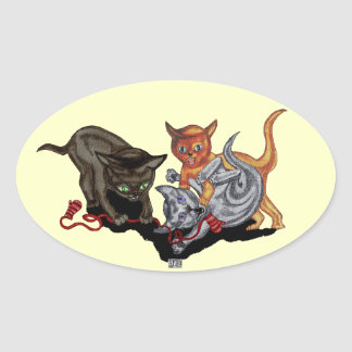 Three Little Kittens Oval Sticker