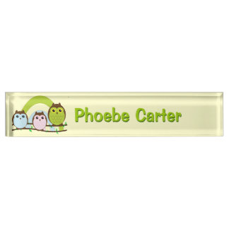 Three Little Owls Name Plate