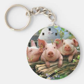 Three Little Pigs Basic Round Button Key Ring