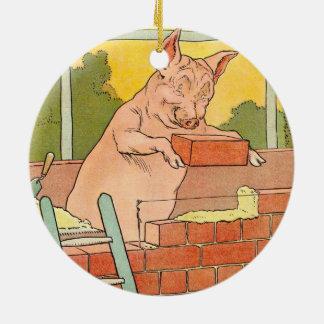 Three Little Pigs: Bricks to Build a House Ceramic Ornament