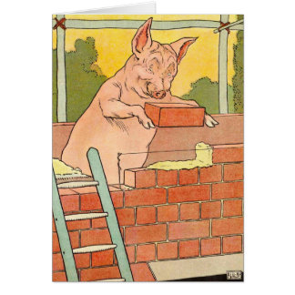 Three Little Pigs: Bricks to Build a House Greeting Card