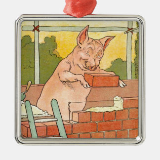Three Little Pigs: Bricks to Build a House Silver-Colored Square Decoration