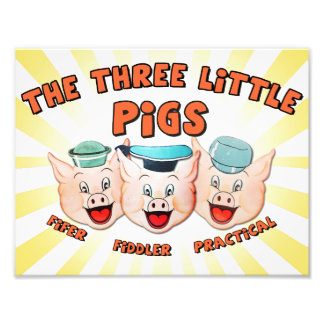Three Little Pigs Character Print