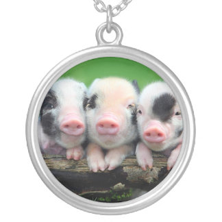 Three little pigs - cute pig - three pigs silver plated necklace