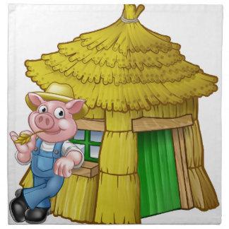 Three Little Pigs Fairy Tale Straw House Napkin