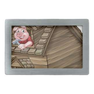 Three Little Pigs Fairy Tale Straw House Rectangular Belt Buckles